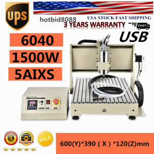 1 5kw 6040 5 Axis Cnc Router Engraver Engraving Machine Ball Screw 1500w Ups Us
