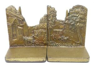 Antique Bradley Hubbard Colonial Stagecoach In Colonial Days Americana Bookends