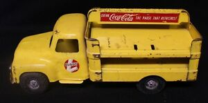 VINTAGE 1950's BUDDY L Coca-Cola Yellow Delivery Truck