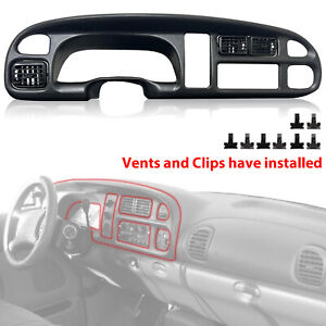 For 98 02 Dodge Ram 1500 2500 3500 Dash Board Panel Instrument Bezel With Vents