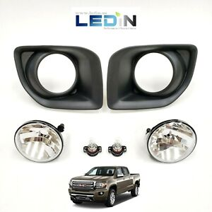 Clear Lens Driving Fog Lights Kit For 2015 2019 Gmc Canyon W Bezel Bulbs Replace