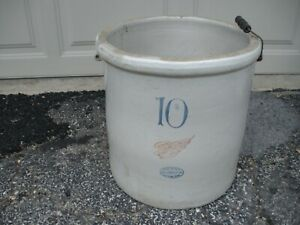 Vintage Antique Red Wing Union Stoneware 10 Gallon Crock Large Wing