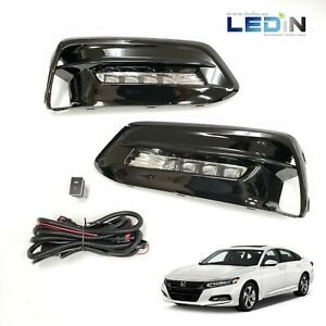 Led Clear Driving Fog Lights Kit For 2018 2019 Accord Wire Switch Bezels