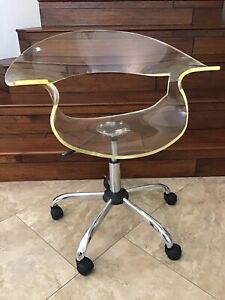 2011 Clear Lucite 1 2 Plastic Adjustable Mcm Style Rolling Wheel Office Chair