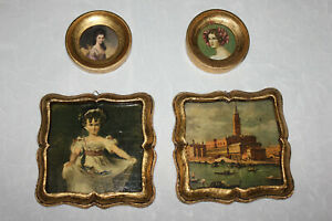 Lot Of Four 4 Antique Florentine Framed Pictures Italy Two Round Two Square