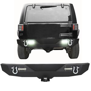 For 2007 2018 Jeep Wrangler Jk Textured Rear Bumper W 2 Led Lights