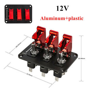 12v 3 Digit General Switch Panel Racing Car Red Electroplate Refit Rocker Part