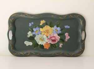 Vintage Sage Green Hand Painted Floral Tole Tray Scalloped Rim 14 X 25