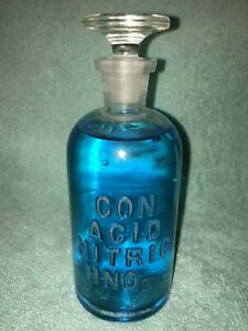 Antique Apothecary Con Acid Nitric Hno3 250 Ml Molded Glass Bottle W Stopper