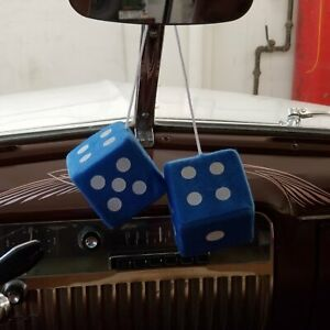 Blue Custom Fuzzy Hanging Rearview Mirror Dice W White Dots V8 Pickup Trans Am