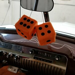 Orange Custom Fuzzy Hanging Rearview Mirror Dice W Black Dots Chevelle K10 351