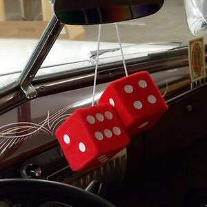 Red Custom Fuzzy Hanging Rearview Mirror Dice Pair W White Dots Fat Fender Ford