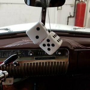 White Custom Fuzzy Hanging Rearview Mirror Dice W Black Dots Street Corvette V8