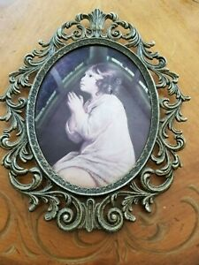 Vintage Antique Brass Oval Metal Ornate Picture Frame Bubble Glass13 X10