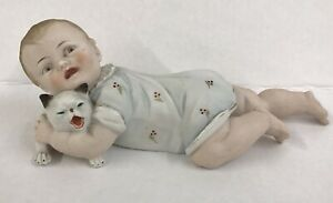 Vintage Piano Baby Bisque Figurine Boy And His Cat Unmarked