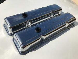 Chevrolet Valve Covers Chrome Sb Small Block With Chevrolet Bow Tie Inprint