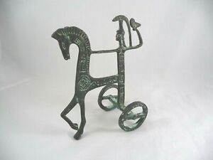Mid Century Modern Etruscan Horse Chariot Sculpture Style Of Frederic Weinberg
