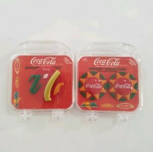 NEW Vintage Coca Cola Jewelry Collection Earrings And Brooch Set Collectibles