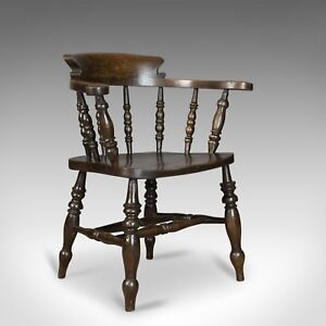 Antique Armchair English Victorian Elm Bow Back Smokers Captains Chair C1900