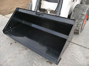 66 Low Profile Smooth Bucket Attachment General Purpose Fits Skid Steer Loader
