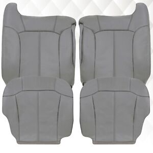 2000 2001 2002 Chevy Silverado Tahoe Suburban Leather Seat Covers In Gray pewter