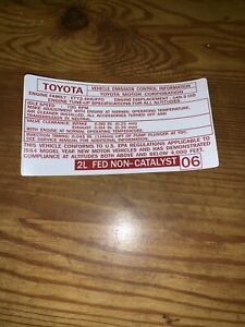 1984 Toyota Diesel Pickup Truck 4runner Emissions Decal Repro 2l 06