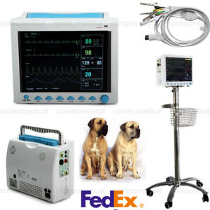 Vet Veterinary Icu Vital Signs Multiparameter Patient Monitor monitor Stand Move