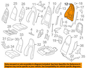 Porsche Oem 09 13 911 Front Seat Seat Back Panel Trim Left 99752130315a80