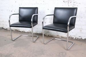 Mies Van Der Rohe For Knoll Black Leather And Chrome Brno Chairs Pair