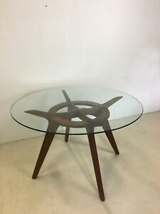 Sale Mid Century Compass Glass Dining Table By Adrian Pearsall For Craft Assoc