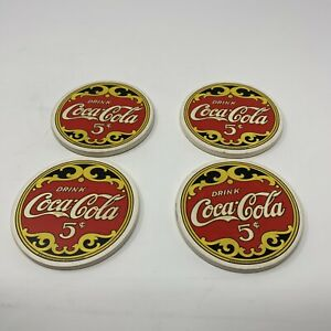 Vintage Coca-Cola Coasters with Cork Backs Set of 4 Drink Coca-Cola
