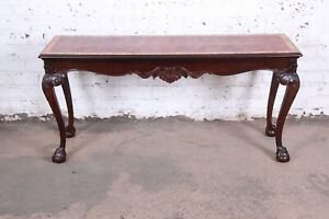 Henredon Chippendale Style Carved Mahogany Console Or Sofa Table