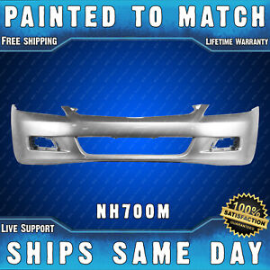 New Painted Nh700m Silver Front Bumper Cover For 2006 2007 Honda Accord Sedan 4d