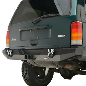 Fit For 84 01 Jeep Cherokee Xj Off Road Rear Bumper With 2 Receiver Hitch