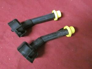 Two Blitz Gas Can Spout W New Yellow Cap Fit 1 4 2 5 5 And 6 Gallon Cans