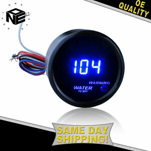 Af 2 52mm Blue Digital Led Fahrenheit Water Temp Temperature Gauge Black