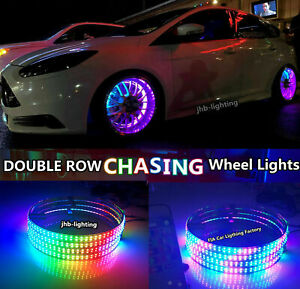 15 5 C2 Ip68 Double Row Dream Chasing Led Blue Tooth Car Wheel Lights 4pcs Set