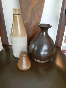 Antique Primitive Bottle Stoneware Beer Beverage Country Farm House