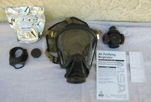 Msa Ultra Elite Air Respirator Medium Face Gas Mask W Adapter Filter Canister