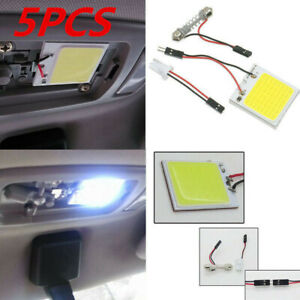 5pcs White 48 Smd Cob Led T10 4w 12v Car Interior Panel Light Dome Lamp Bulb