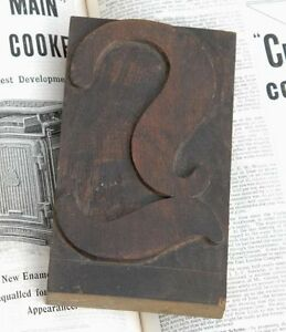 Huge l Blackletter 7 09 Handcarved Woodtype Printing Block Letterpress Abc