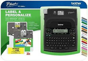 New Brother Pt 1890sc P touch Deluxe Label Maker Bundle Power Adapter 2 Tapes