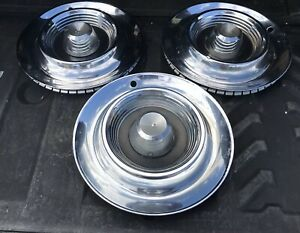 Vintage Chrysler Imperial Genuine 14 Hubcaps Set Of 3
