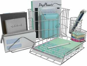 Desk Organizer Set 5 piece Desk Accessories Set silver