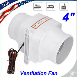 4 Quiet Boat Ventilation Fan Dc12v In line Marine Bilge Air Blower 6amp 270cfm