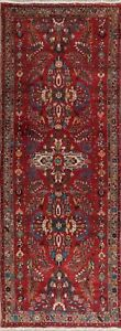 Floral Oriental Hand Knotted Wool Old Area Rug Lilian 4x10 Medallion Red Carpet