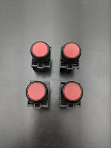 4x Red Eaton Momentary Contact Machine Control Push Button 2 Pole 22mm M22 led