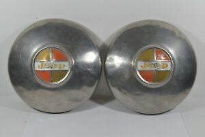 Set Of 2 Vtg 1966 1973 Oem Jeep Jeepster Wagoneer Commando Dog Dish Hub Caps