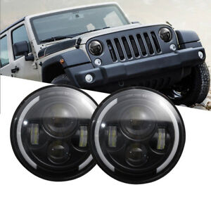 2x 7 Inch Led Headlights Halo Angel Eyes For Jeep Wrangler Jk Tj Cj Lj 07 2016