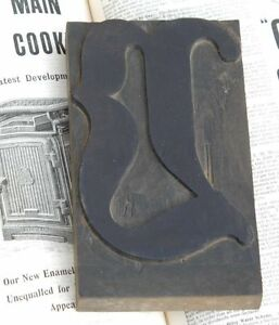 Huge v Blackletter 7 09 Handcarved Woodtype Printing Block Letterpress Abc